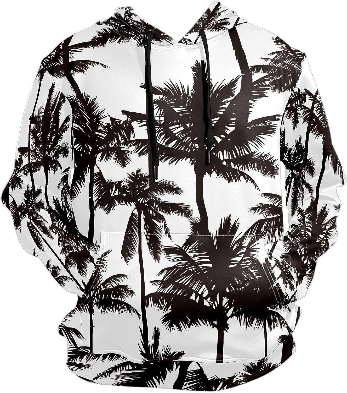 Men's Sport Hoodie Vintage Tropical Palm Tree Black White Big and Tall Hoodies for Men Women Oversized Hooded Sweatshirt Hip Hop Pullover Hoodie Midweight Hood for Boys Girls