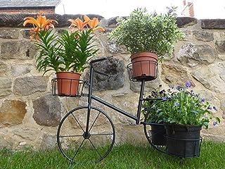 Negro metal bicicleta Porta macetas maceta de jardín a contenere 4plantas en maceta