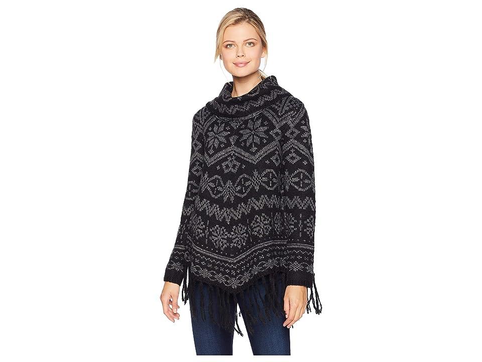 Tribal Long Sleeve Cowl Neck Jacquard Sweater (Black) Women