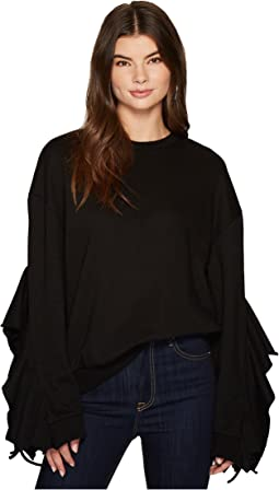 J.O.A. - Ruffle Sleeve Knit Top
