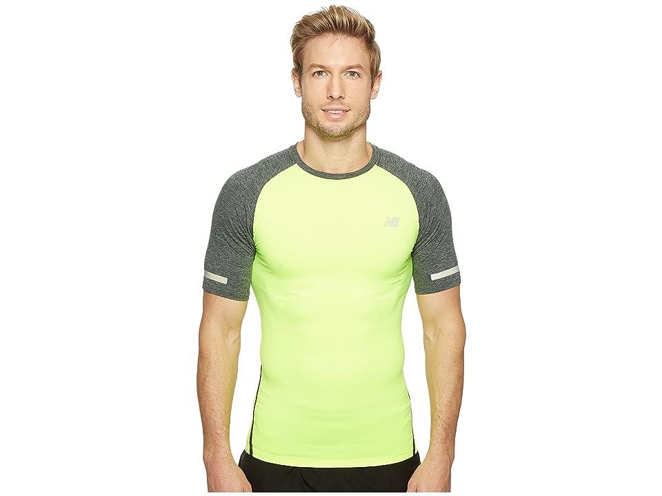New Balance Trinamic Short Sleeve Top (Hi-Lite/Heather Charcoal) Men