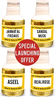 Parag Fragrances Jannat al Firdaus, Sandal Musk, Aseel, Real Rose Attar Each 5ml {Launching Offer Pack} (Alcohol Free Long...