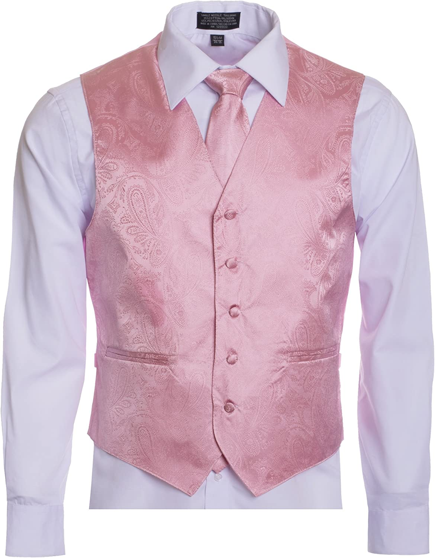 Men's Premium Paisley Vest Neck Tie Pocket Square Set Paisley Vest for Suits and Tuxedos-Many Colors