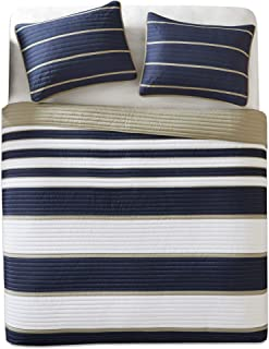 Comfort Spaces Verone 3 Piece Quilt Coverlet Bedspread Ultra Soft Microfiber Stripes Pattern Hypoallergenic Bedding Set, Full/Queen, Blue White