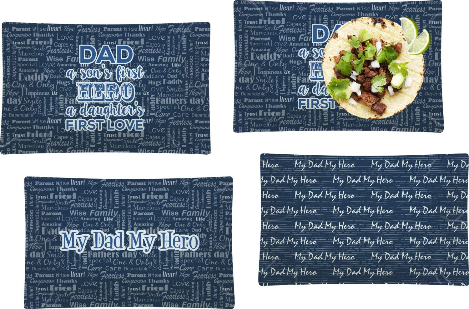 My Father shop Hero Set supreme of 4 Rectangular Glass Plate Dinner Lunch
