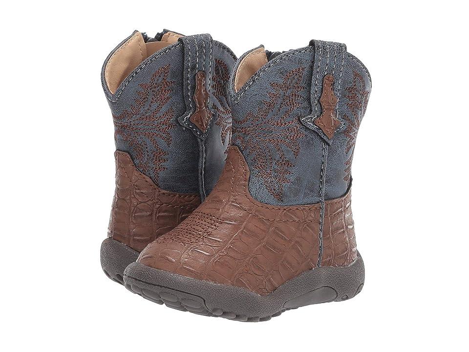 Roper Kids Adelia (Infant/Toddler) (Brown Faux Caiman Vamp/Blue Shaft) Cowboy Boots