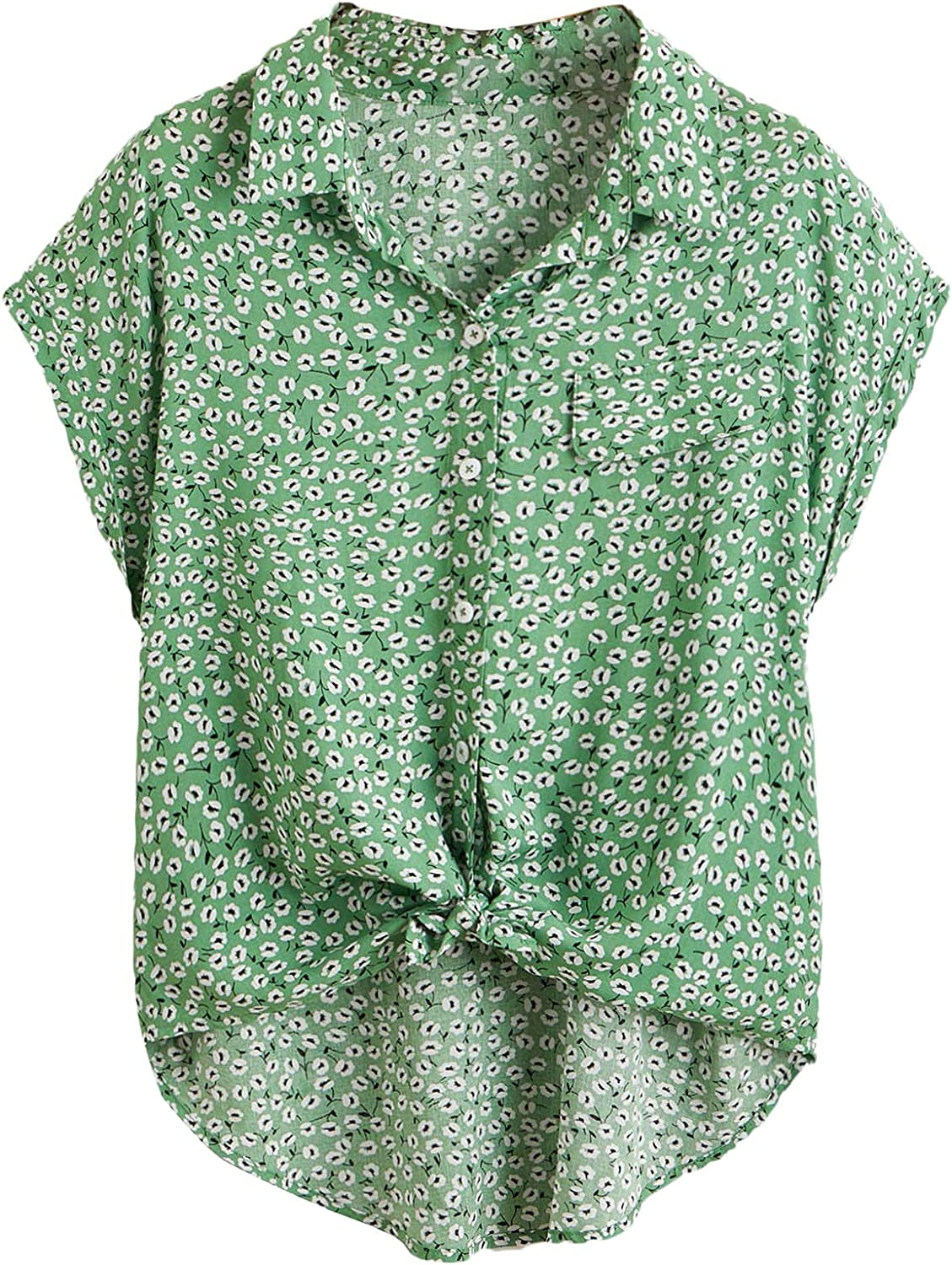 Milumia Women's Casual V Neck Ditsy Floral Roll Sleeve Knot Front Curved Hem Blouse