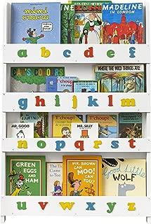 Tidy Books - Kids Bookshelf   White   Wall Bookshelf For Kids With 3D Alphabet Color   Montessori Materials   Wood Bookcase   45.3 x 30.3 x 2.8 in   ECO Friendly   Handmade - The Original Since 2004