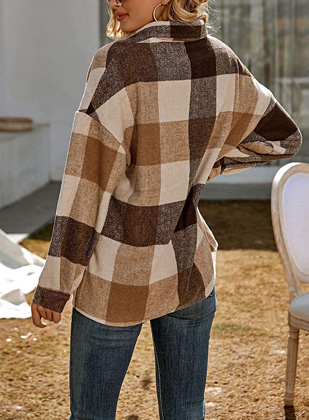 chouyatou Women's Oversized Casual Button Down Plaid Shirt Jacket Flannel Shacket