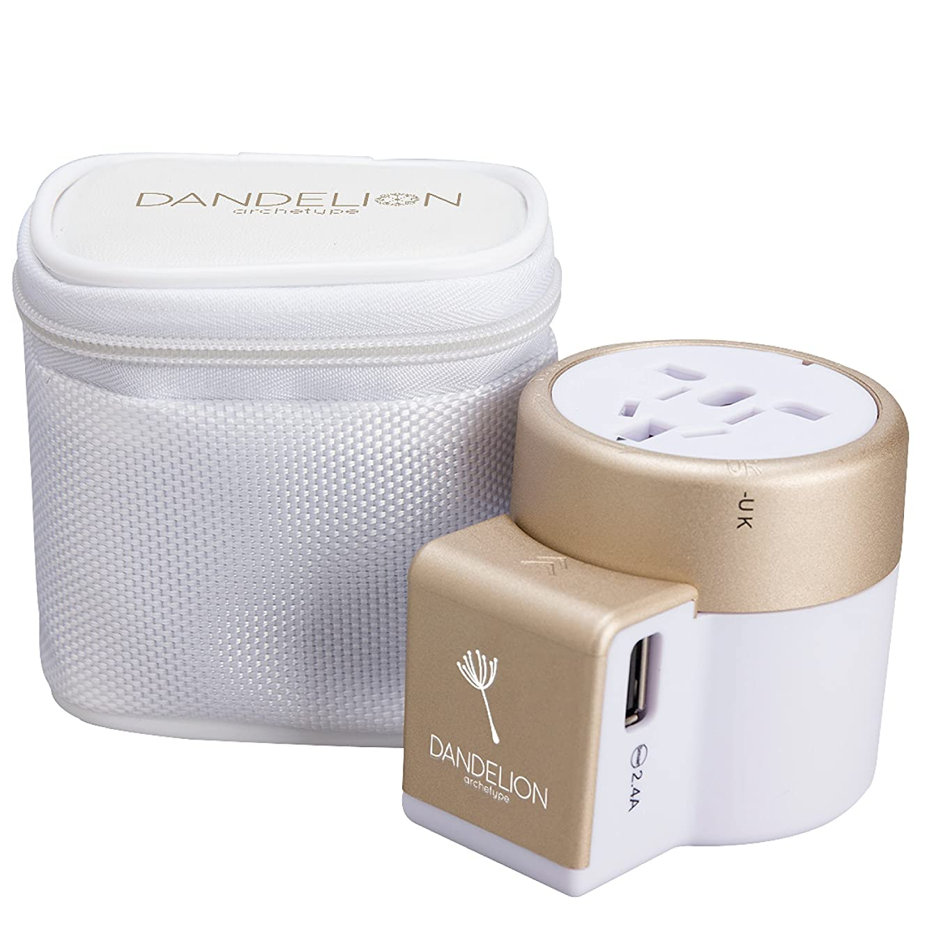 Dandelion Travel Adapter Outlet Adapter Traveler Accessory Universal Wall Charger 2 USB Ports (UK, USA, AU, Europe, Asia) International Power Plug Adaptor for Multiple Socket Type C, A, I, G (Gold)
