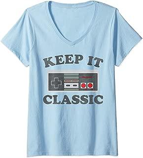 Womens Nintendo NES Controller Keep It Classic V-Neck T-Shirt