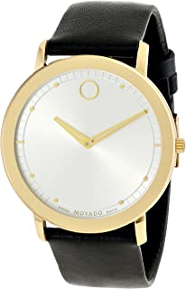 Movado Men's 0606695 Movado TC Gold-Plated Stainless Steel Watch with Black Leather Band