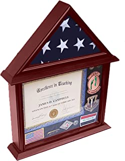 DECOMIL - 3x5 Flag Display Case with Certificate and Document Holder Mango Finish