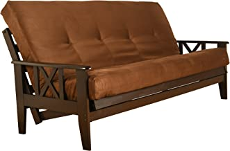 Excelsior Java Futon Set - Wood Frame and Mattress 8 Inch Innerspring - Full or Queen Size with Choice Fabric Colors (Full Size, Coffee)