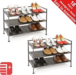 Seville Classics 3-Tier Stackable 9-Pair Woodgrain Resin Slat Shelf Sturdy Metal Frame Shoe Storage Rack (2-Pack) Organizer, Perfect for Bedroom, Closet, Entryway, Dorm Room, Espresso