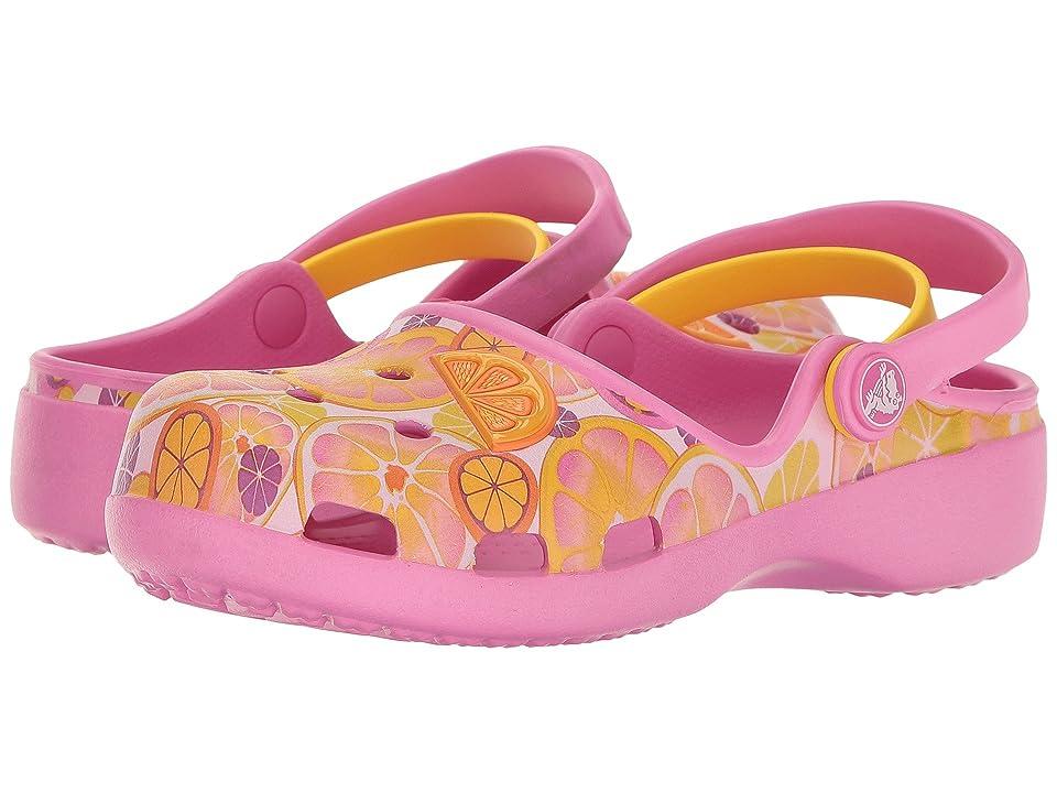 Crocs Kids Karin Novelty Clog (Toddler/Little Kid) (Party Pink/Lemon) Girls Shoes