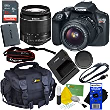 Canon EOS Rebel T6 DSLR Camera with EF-S 18-55mm is II Lens – Bundled with 32GB Memory Card, Battery, Charger, Gadget Bag, Cleaning Kit w/HeroFiber Cleaning Cloth