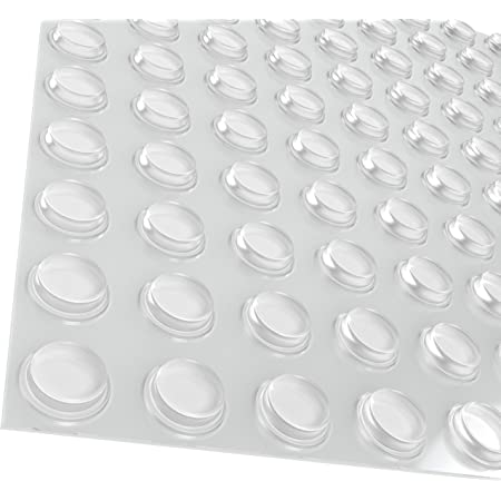 "Pack of 100 Cabinet Door Bumpers - 1/2"" Diameter Clear Adhesive Pads for Drawers, Glass Tops, Cutting Boards, Picture Frames, Small Furniture"