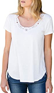Amaryllis Apparel Women's Soft Crochet Scoop Neck Shirttail Short Sleeve T-Shirt   100% Cotton