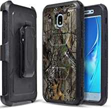 Circlemalls Super Guard Phone Case Compatible for Samsung J7 Crown, J7 Star, J7 Refine, J7 v 2nd Gen, J7 2018, J7 Aura, With [Built-in Screen Protector] Belt Clip Holster and Stylus Pen-Camo