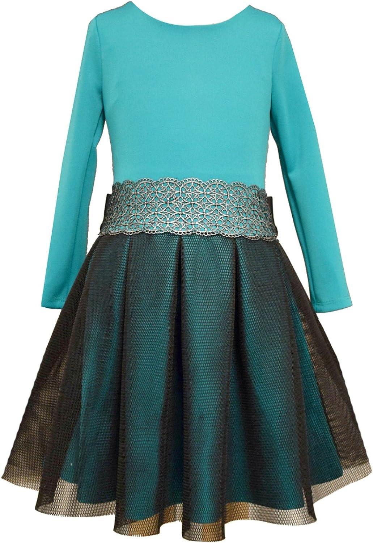 Bonnie Jean Girls Dress 7-16 Modern Teal Mesh Scuba