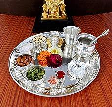 NOBILITY Silver Plated Pooja Thali Set - Premium Occasional Gift - Puja Thali Decorative - Wedding Return Gift - Size: 12 ...