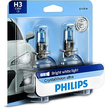 PHILIPS 12336CVB2 H3 CrystalVision Ultra Upgrade Bright White Headlight Bulb, 2 Pack