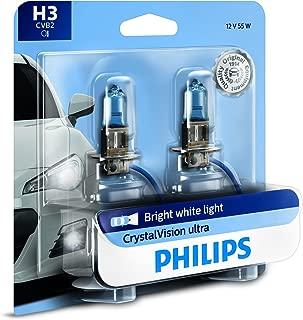 Philips H3 CrystalVision Ultra Upgrade Bright White Headlight Bulb, 2 Pack