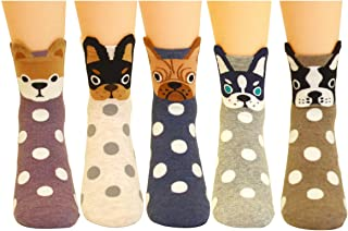 5 Pairs Women's Fun Socks Cute Dog Animals Funny Funky Novelty Cotton Gift