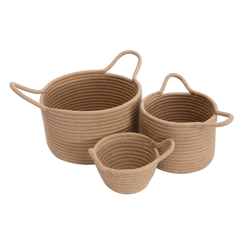 E-HOUPRO Storage Baskets Set of High order 3 Nippon regular agency Rope Cotton Bi Woven Organizer