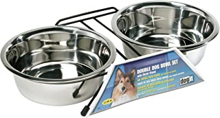 Dogit Stainless Steel Double Dog Diner, Dog Bowl Set with Metal Stand for Elevation, Large