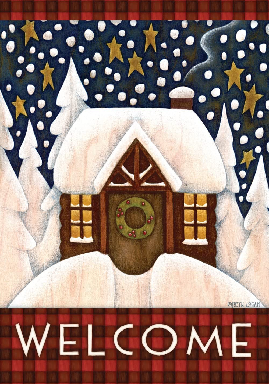 Toland Home Garden Snowy Cabin 28 Decorative 40 Max 66% OFF Winter x We Ranking TOP1 Inch