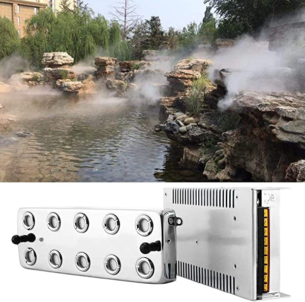 VEVOR 10 Head Ultrasonic Mist Maker Fogger 250W 5KG H Mist Maker Fogger Air Humidifier W Transformer Accessories For Industrial Scenic Agriculture Greenhouse Hydroponics Garden Lawn Pond