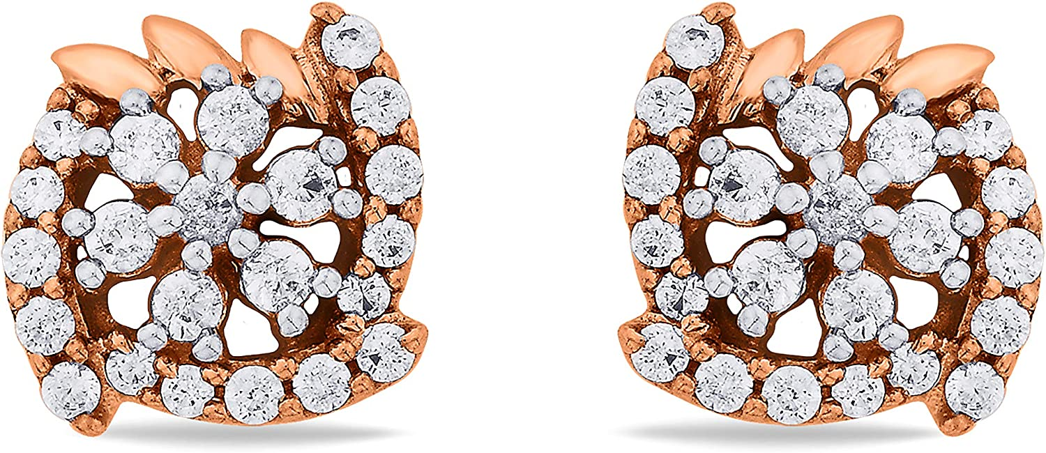 3djewels Women's 0.25 Cts Round Sim Diamond Contorted Calyx Earring In 14K pink gold Plated