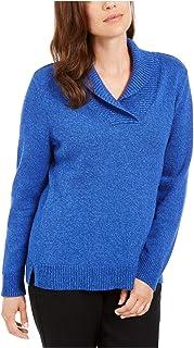 KAREN SCOTT Womens Blue Ribbed Long Sleeve Shawl Collar Sweater AU Size:6