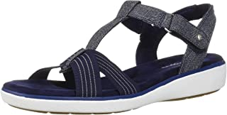 Grasshoppers Women's Ruby T-Strap Sandal Chambray, Peacoat Navy, 9.5 Wide