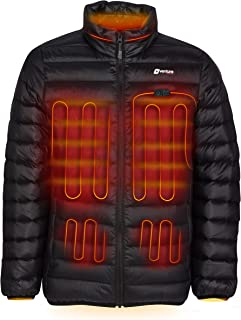 Men's Down Heated Jacket with Battery - Hand Warmer Dual Zone Electric Coat Packable Puffer, Wander 2.0