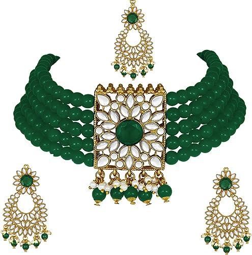 Gold Plated Jodha Akbar Kundan Faux Pearl Choker Necklace With Earring Maang Tikka Traditional Bridal Jewellery Set For Women Girls
