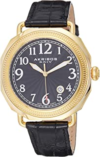 Akribos XXIV Men's Sunburst Guilloche Dial Watch - Coin Edged Bezel with Date Window On Embossed Crocodile Leather - AK770