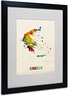 Greece Watercolor Map by Michael Tompsett, White Matte, Black Frame 16x20-Inch