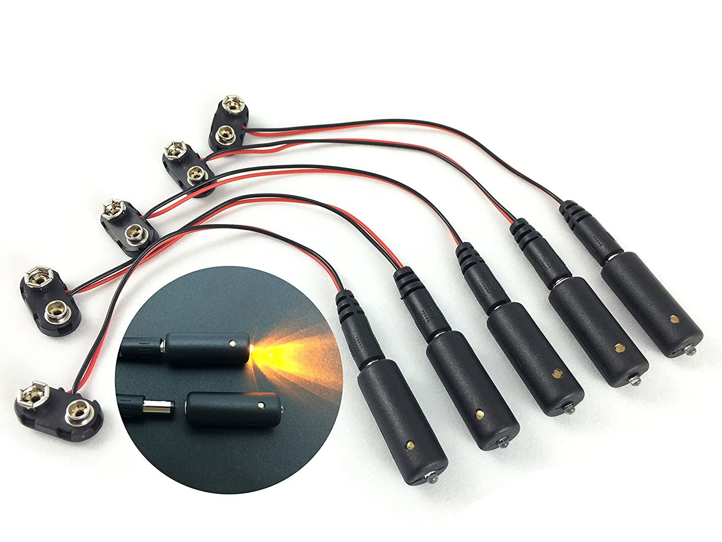 5 Pack, Sunset Amber LED 9 Volt Battery Operated Micro Effects Light for Scenery Props and Models