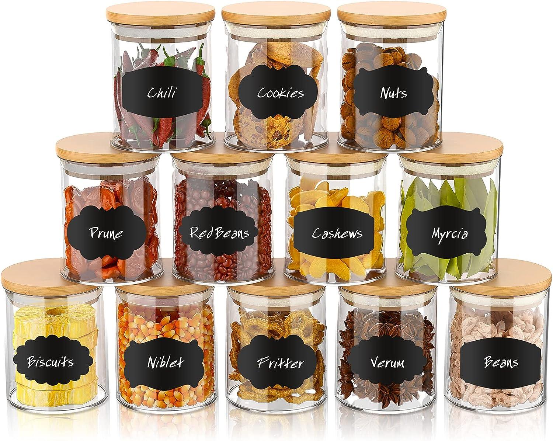 12 Set Glass Jars Long Beach Sale SALE% OFF Mall 180ml Spice Food Yohaoupty Cerea 6oz