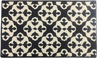 """Fashion Medallion Pattern Rug, Non-Skid Home, Kitchen, Floor Mat, Comfortable Standing and Entrance Rug, 17"""" x 28"""" (Black)"""