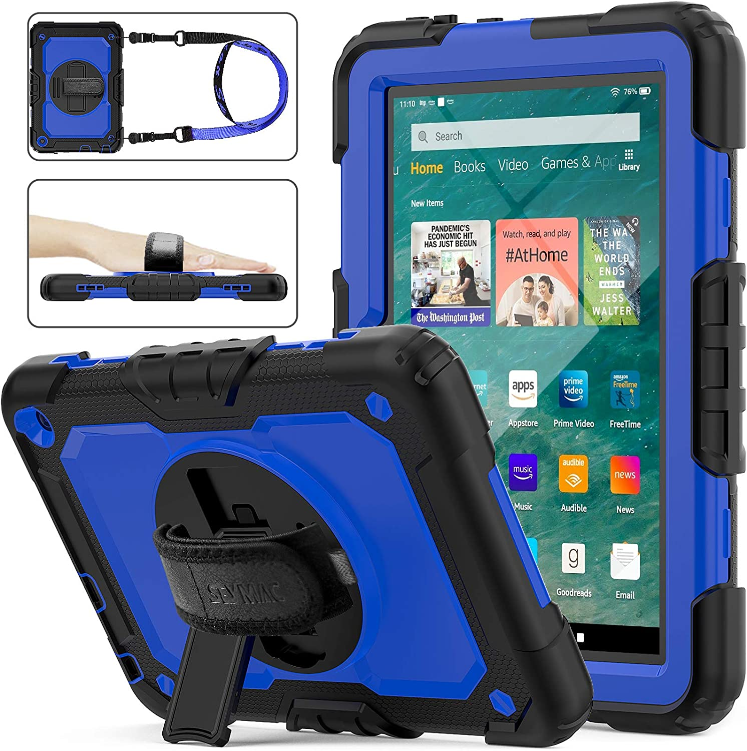 SEYMAC stock Case for FireHD 8/8Plus (10th Generation 2020 Release), Drop-Proof Full-Body Case with 360 Degrees Rotating Stand [Screen Protector] Hand Strap for FireHD 8& 8 Plus 10th Gen(Blue+Black)