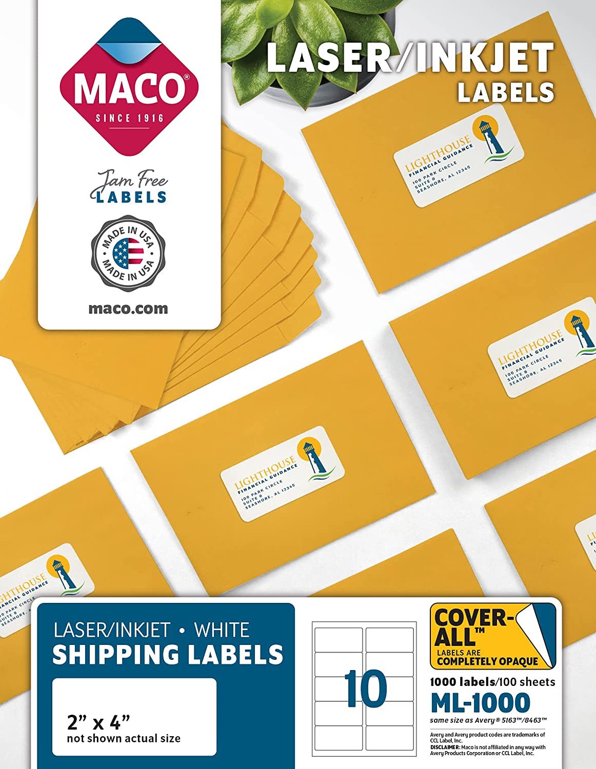 MACO ML1000 White Max 76% OFF Laser Inkjet Shipping Address Department store Labels 4 x 2