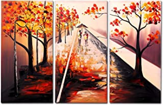 FLY SPRAY 3-Piece 100% Hand Painted Oil Paintings Panels Stretched Framed Ready Hang Trip Sunrise Fall Autumn Trees People Modern Abstract Canvas Living Room Bedroom Office Wall Art Home Decor