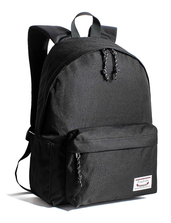 Leaper Classic School Backpack Unisex Travel Bag Bookbag Satchel Daypack Black