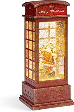 Best Choice Products Pre-Lit Glitter Snow Globe Christmas Lantern Home Decor w/Santa Claus, Battery Operated