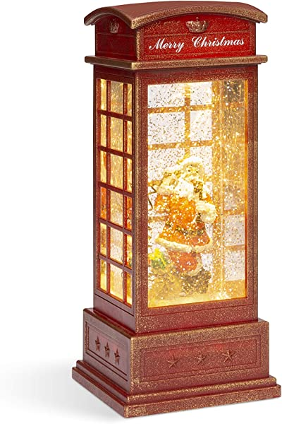 Best Choice Products Pre Lit Glitter Snow Globe Christmas Lantern Decoration For Home Fireplace Mantle W Santa Claus Battery Operated
