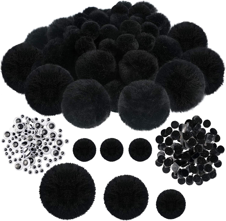 WILLBOND 60 Pieces Crafts Pom Poms service and Arts Craf Columbus Mall Fuzzy Black